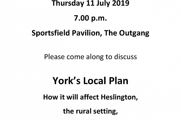 Open Meeting with Julian Sturdy MP Thursday 11th July 7.00 - 8.00pm at the Sportsfield Pavilion, The Outgang